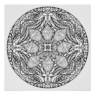Color Your Own Cupcakes Mandala Coloring Poster