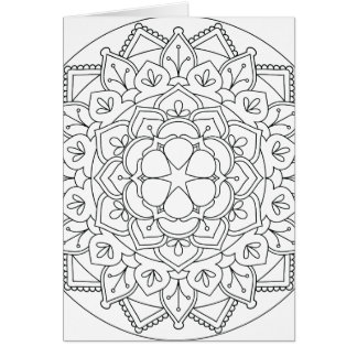 Color-Your-Own Floral Mandala  060517_1 Card