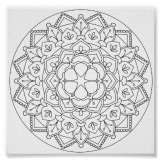 Color-Your-Own Floral Mandala  060517_1 Poster