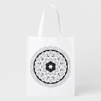 Color-Your-Own Floral Mandala 060517_4 Reusable Grocery Bag