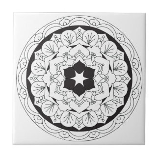Color-Your-Own Floral Mandala 060517_4 Tile