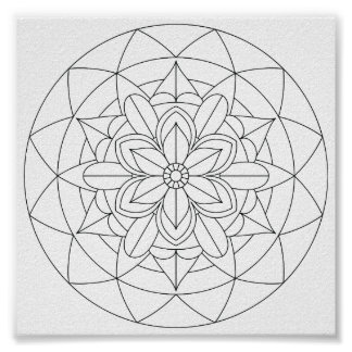 Color-Your-Own Geometric Floral Mandala  060517_2 Poster