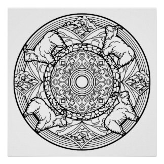Color Your Own Goats Mandala Coloring Poster