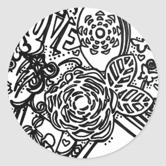 Color your own greeting card classic round sticker