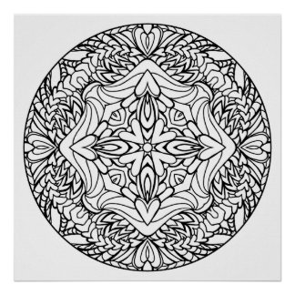 Color Your Own Hearts Mandala Coloring Poster