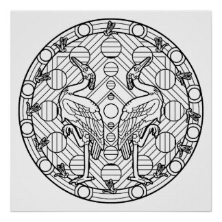 Color Your Own Heron Mandala Coloring Poster
