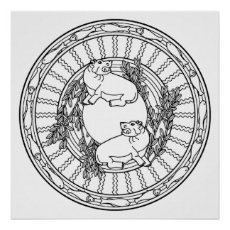 Color Your Own Hippo Mandala Coloring Poster