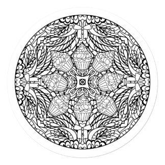 Color Your Own Mandala Cupcake Card