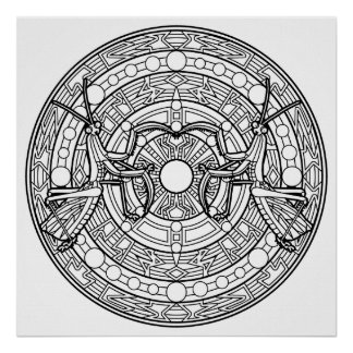 Color Your Own Mantis Mandala Coloring Poster
