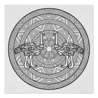 Color Your Own Ostrich Mandala Coloring Poster