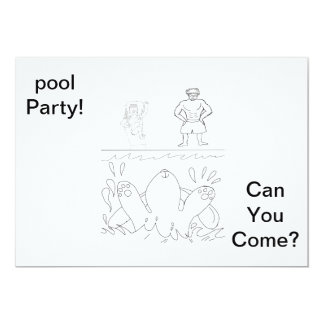 """Color your own pool part invite. 5"""" x 7"""" invitation card"""