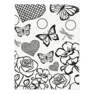 Color your own postcard butterfly flower