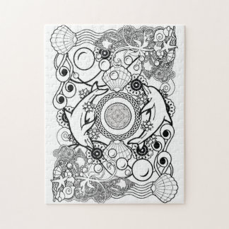 color your own puzzle mandala