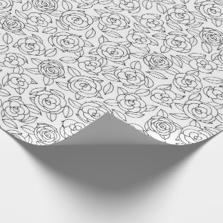 Color Your Own Roses Pattern Wrapping Paper