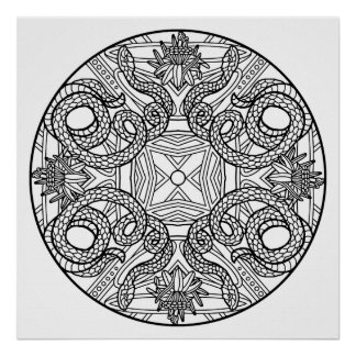 Color Your Own Snakes Mandala Coloring Poster