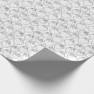 Color Your Own Strawberries Pattern Wrapping Paper