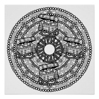 Color Your Own Treasure Mandala Coloring Poste Poster