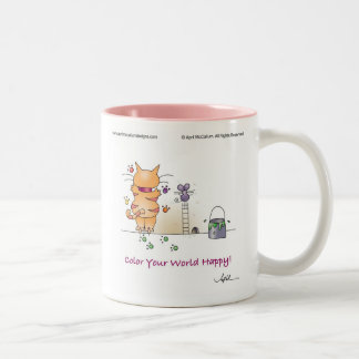 COLOR YOUR WORLD HAPPY! by April McCallum Two-Tone Coffee Mug