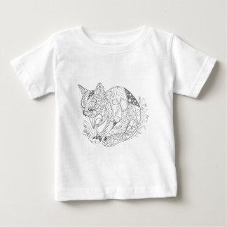 Colorable Cat Abstract Art Drawing for Coloring Baby T-Shirt