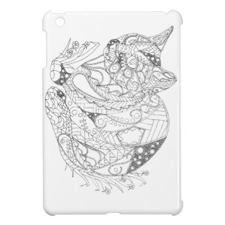 Colorable Cat Abstract Art Drawing for Coloring iPad Mini Cases