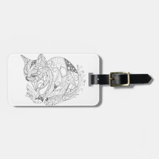 Colorable Cat Abstract Art Drawing for Coloring Luggage Tag
