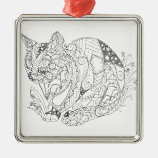 Colorable Cat Abstract Art Drawing for Coloring Metal Ornament