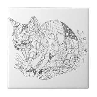 Colorable Cat Abstract Art Drawing for Coloring Tile