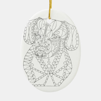 Colorable Dachshund Abstract Art Adult Coloring Ceramic Ornament