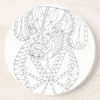 Colorable Dachshund Abstract Art Adult Coloring Coaster