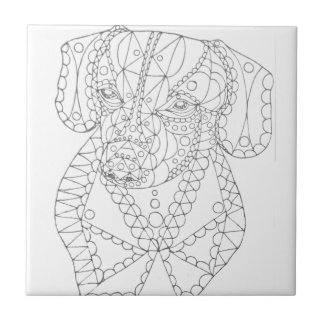 Colorable Dachshund Abstract Art Adult Coloring Tile