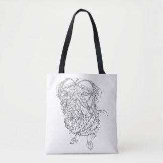 Colorable Dog Sitting Abstract Art Adult Coloring Tote Bag