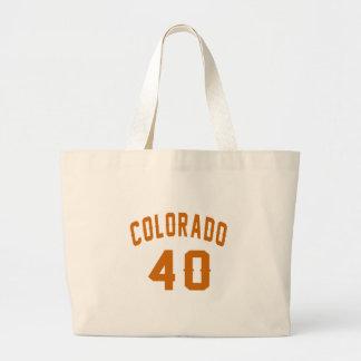 Colorado 40 Birthday Designs Large Tote Bag