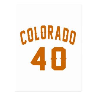 Colorado 40 Birthday Designs Postcard
