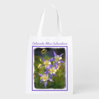 Colorado Blue Columbine Painting - Original Art Reusable Grocery Bag
