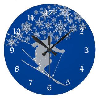 Colorado Blue Snow Ski Large Clock