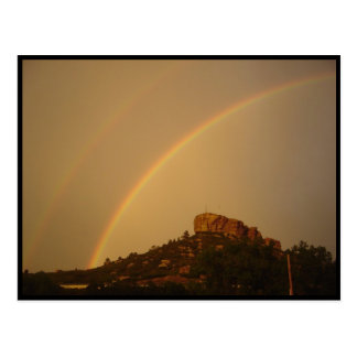 Colorado Castle Rock Double Rainbow Postcard