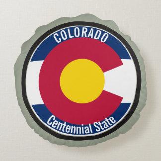 Colorado Circular Flag Round Pillow