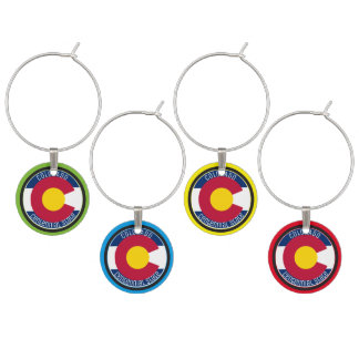 Colorado Circular Flag Wine Charm