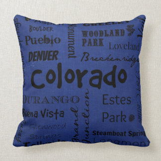 Colorado cities typography decorative pillow