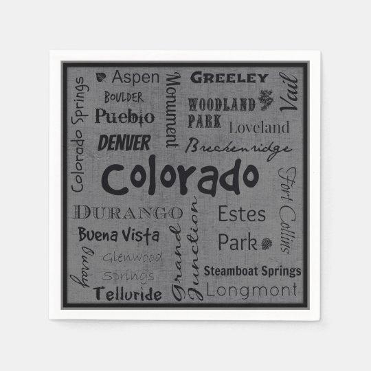 Colorado cities typography napkins disposable napkins