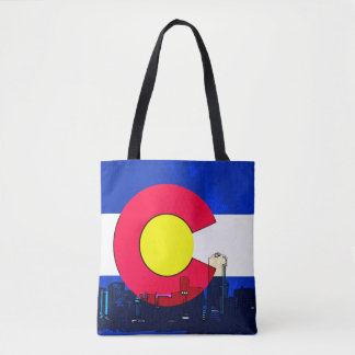 Colorado Denver skyline print all over tote bag