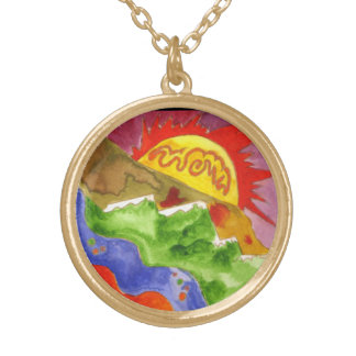 """""""Colorado Dreaming"""" Painting by Beth Wellesley Gold Plated Necklace"""