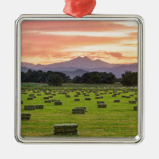 Colorado_Farmers_Burning_Sunset Metal Ornament