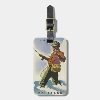 Colorado Fisherman Vintage Travel luggage tag