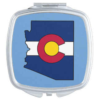 Colorado flag Arizona outline compact mirror