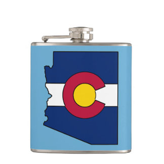 Colorado flag Arizona outline flask