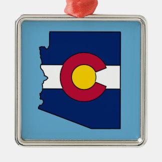 Colorado flag Arizona outline ornament