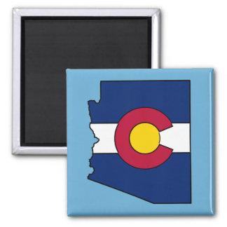Colorado flag Arizona outline square magnet