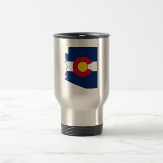 Colorado flag Arizona outline travel mug