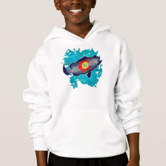 Colorado flag bass fish kids hoodie